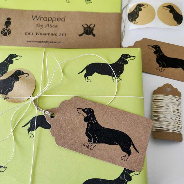 image showing contents of pistachio green dachshund gift wrap set
