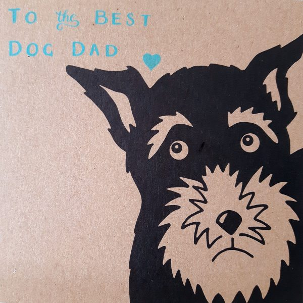 close up of father's day card for a dog owner - schnauzer design