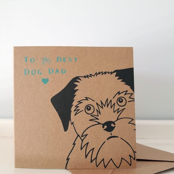 dog dad father's day card with envelope, border terrier