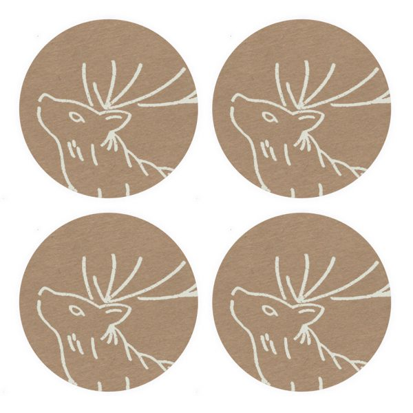 4 brown kraft stickers with white stag head print