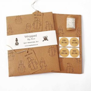 Toy Santa, recycled Christmas gift wrapping set. Brown kraft gift wrap set with cute, santas, in a toy style.