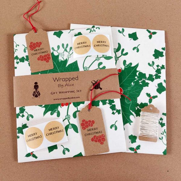 holly and ivy christmas gift wrapping set, in cream