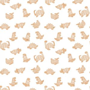 Dinosaurs in Christmas Jumpers Wrapping Paper Roll. White and brown kraft paper, with design of different dinosaurs all wearing woolly jumpers