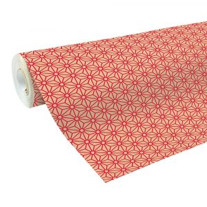 Geometric wrapping paper roll - kraft paper with red geometric design