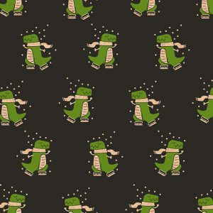 Christmas Dinosaur wrapping paper roll, featuring a green ice-skating dinosaur on a black background