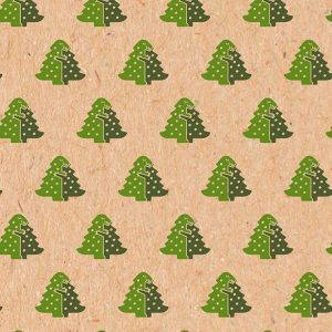 T-Rex Christmas Wrapping Paper roll - Borwn kraft wrapping paper with repeating pattern of two green T-Rex hugging to make the shape of a Christmas tree.
